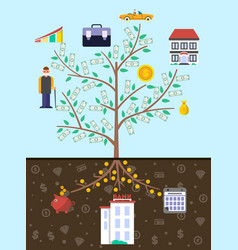Investment in old age infographics with money tree vector