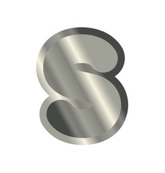 Letter s steel font metal alphabet sign iron abc vector