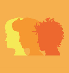 Men and woman heads silhouettes vector