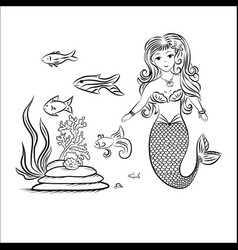 Mermaid and fish rocks and seaweed vector