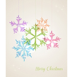 Merry Christmas hanging snowflake greeting card vector image