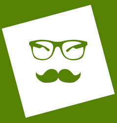 Mustache and glasses sign white icon vector
