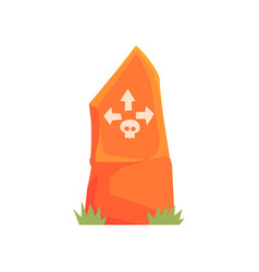 Orange tombstone with skull and arrows vector