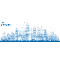 Outline sucre skyline with blue buildings vector