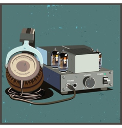 Retro headphones and amplifier vector