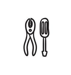 Screwdriver with pliers sketch icon vector