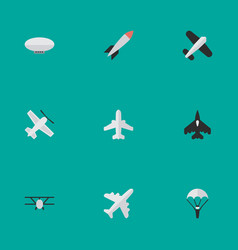 Set of simple aircraft icons elements balloons vector