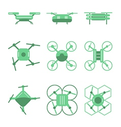 Set of simple different drones on isolated backgro vector