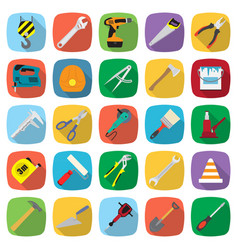 Set of twenty five colored flat style tools icons vector