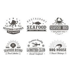 set of vintage seafood barbecuelogo templates vector image