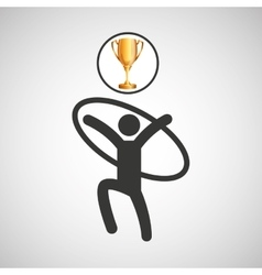 Silhouette man artistic gymnastic athlete trophy vector