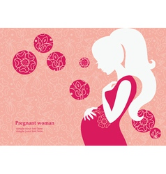 Silhouette of pregnant woman in spring vector image