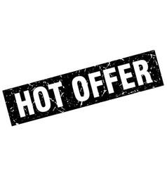 Square grunge black hot offer stamp vector