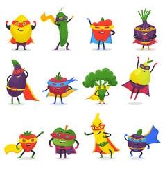 Superhero fruits fruity cartoon character vector