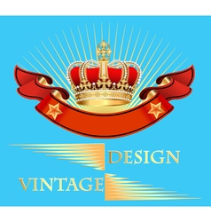 vintage background with crown vector image