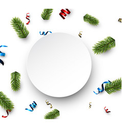 white round christmas card with serpentine vector image vector image