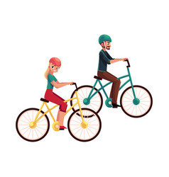 young couple man and woman riding bicycles vector image vector image