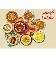Jewish cuisine kosher dishes for dinner icon vector