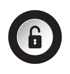 Round black and white button - open padlock icon vector