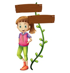 A girl at the back of the empty signboard vector image