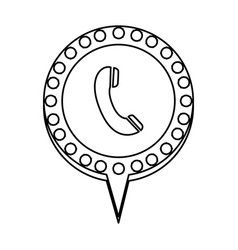 monochrome silhouette of telephone and circular vector image