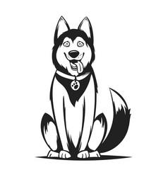 monochrome of husky dog vector image