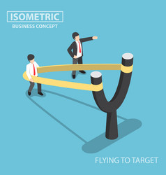 Isometric businessman preparing to fly by vector