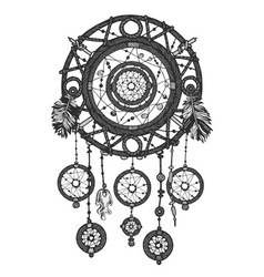Dream catcher in shades of gray monochrome vector