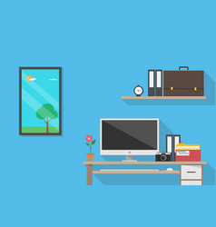 Front view of workplace business concept vector