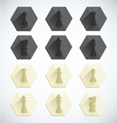 Chess piece dimensional icons vector