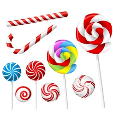 Lollipop and candy set vector