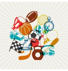 Background with sport icons vector