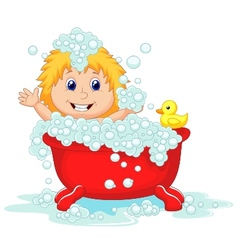 Girl cartoon bathing in the red bath tub vector