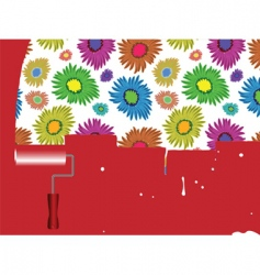 Flowers painted on wall vector