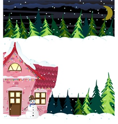 Winter house and smiling snowman vector