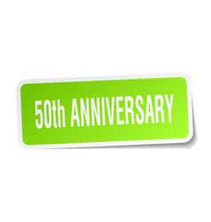 50th anniversary square sticker on white vector