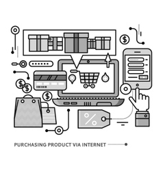 Purchasing delivery of product via internet vector