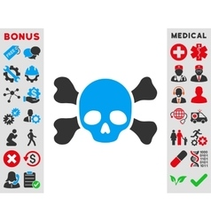 Skull and bones icon vector