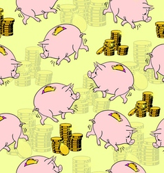 Pig piggy bank gold coins seamless vector