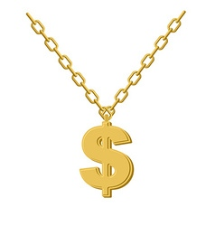 Gold dollar on chain decoration for rap artists vector