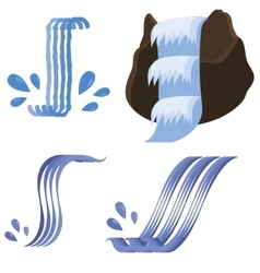 Set of different waterfalls icons vector