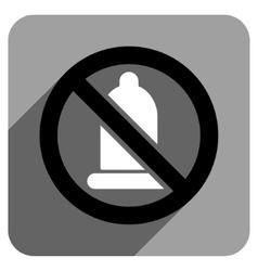 Forbidden condom flat square icon with long shadow vector