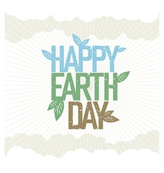 Vintage earth day poster rays leaves clouds sky on vector