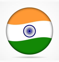 Button with waving flag of india vector