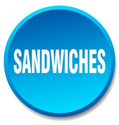 Sandwiches blue round flat isolated push button vector