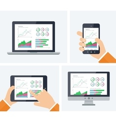 Flat infographic with graphs and charts vector
