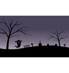 Halloween ghost in tomb silhouette vector