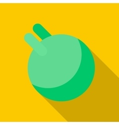 Green ball for fitness with handle icon flat style vector