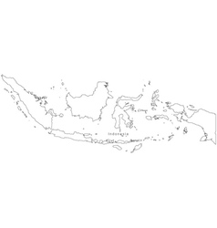 Black white indonesia outline map vector