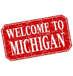 Welcome to michigan red square grunge stamp vector